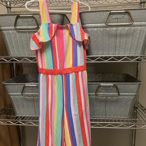 Other - Toddler striped ruffle cropped jumpsuit